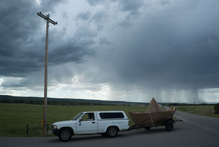 Boat with Colorado rain storm