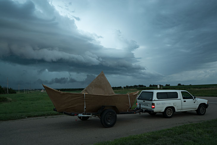 Boat with storm in Kansas