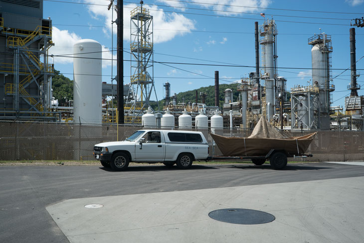 Boat at oil refinery in Warren, Pennsylvania