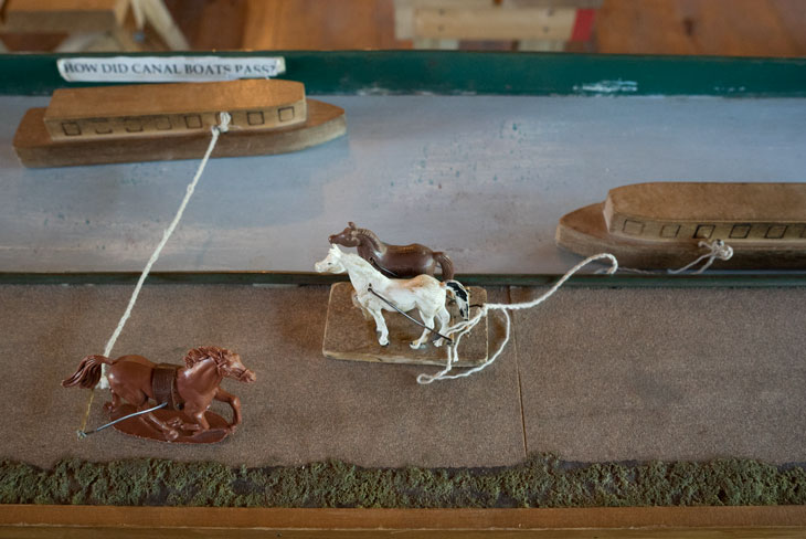 Boat with mule  diorama of Erie Canal in New York