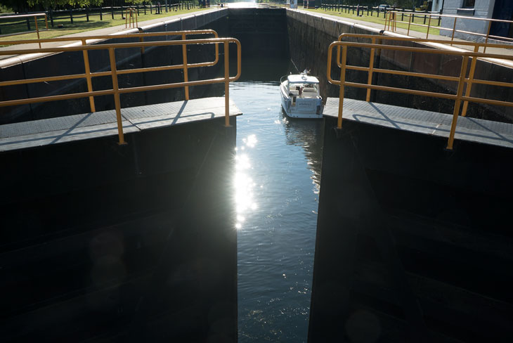 Boat by Erie Canal Lock 21 in New York